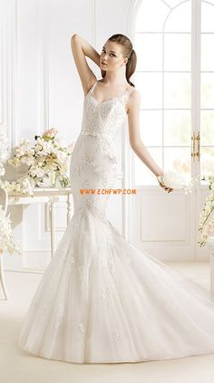 Trumpet/Mermaid Spring Appliques Wedding Dresses 2014