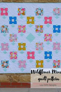 Modern quilt design by Lou Orth Designs Baby Quilt Patterns, Pdf Patterns, Wild Flower Meadow, Wild Flowers, Quilting Tutorials, Quilting Designs, Quilt Design, Love Sewing, Pattern Making