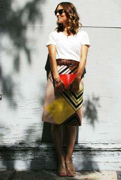 patterned skirt + T