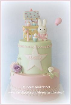 Nijntje/Miffy cake and some cookies - Cake by De Zoete Suikertoef Gorgeous Cakes, Pretty Cakes, Cute Cakes, Fondant Cakes, Cupcake Cakes, Miffy Cake, Bebe 1 An, 1st Birthday Cakes, Cupcake Flavors