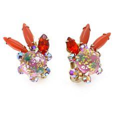 Vintage 1950s Pink & Orange Paste Splatter Glass Clip Earrings | Clarice Jewellery | Vintage Costume Jewellery