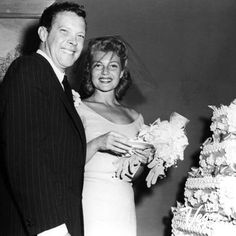 Rita Hayworth and Dick Haymes wedding at the Sands in Las Vegas on 9/24/1953. Photo credit: Las Vegas News Bureau #weddings #WeddingWednesday