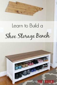 DIY Entryway Bench with Shoe Storage #diyhomedecor