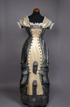 Dress, c 1870-1880. Czech. Silk and cotton. Accession #H2-193316. Museum of Decorative Arts, Prague. For more views, see other pins.