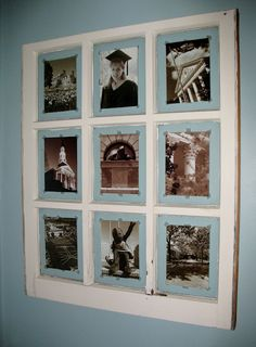 old window panes as multiple picture frames