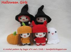 Halloween Girls PDF Amigurumi crochet pattern » - this is a $6 pattern, but I think I could easily come up with my own version. These are so cute!