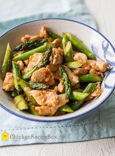 Asparagus and Chicken Stir Fry ingredients: About ½ pound of boneless skinless chicken breast or chicken thighs, cut into bite sized pieces ½ pound of fresh Asparagus 1 Tablespoon oil 1 small onion, minced 1 Tablespoon minced ginger 2 cloves of garlic, fine mince or crushed 1 Tablespoon low sodium soy sauce (use Tamari for Gluten Free)