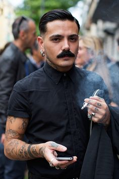 The hair and moustache. Mostly the moustache. Mustache Styles, Hommes Sexy, Sartorialist, Beard No Mustache, Men Street, Hair And Beard Styles, Men's Grooming, Facial Hair, Sexy Men