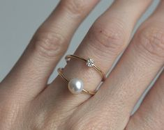 Pearl Ring, Diamond Ring, Double Ring, Double Gold Band, Double Gold Ring, Modern Pearl Ring, Birthstone Ring, Engagement Ring, Unique Ring