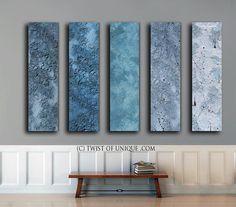 Blue metal Abstract Painting / CUSTOM 5 painting set /56x13 / Metallic abstract painting / Steel, silver, blue, silver, gunmetal gray