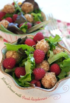 """Salad with Goat Cheese Pecan Balls & Raspberry Vinaigrette... I also really like the website- """"Family Fresh Cooking"""""""