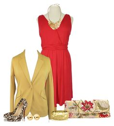 """""""Red and Gold"""" by dazzlingemeraldplussizes ❤ liked on Polyvore featuring Christian Louboutin, Amy Butler, Trina Turk LA, plussize, plussizefashion and dazzlingemeraldplussizes"""
