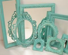Shabby Chic Picture Frames Wall Mirrors Cottage Ornate Frames Turquoise Aqua Blue For Home Decor