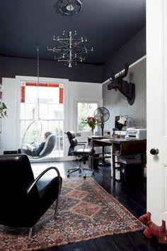 Home Office idea. Dark Ceiling Design Ideas, Pictures, Remodel, and Decor Office Interior Design, Home Office Decor, Home Decor, Office Designs, Office Ideas, Office Furniture, Dark Interiors, Office Interiors, Interior Design Living Room