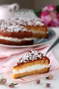 Torta paradiso con crema al latte panna facile golosa ricetta cucinare dolce…