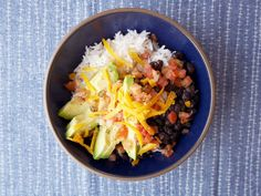 Loaded Vegetarian Burrito Bowl This black bean, avocado, and cheddar bowl beats Chipotle every time.