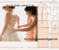 MOLDE BASE DE VESTIDO LARGO TAMANHO 38 - Moldes Moda por Medida