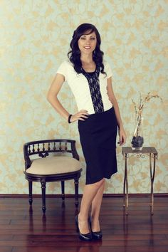 Scalloped Skirt - Black  White Top w/Blk Lace