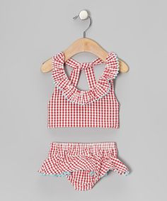 Take a look at this Red Check Sunsuit - Infant, Toddler & Girls by Stellybelly on #zulily today!