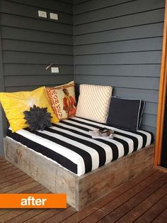 Courtney and her husband are lucky enough to have a wonderful outdoor deck, but weren't sure how to best use this odd empty corner. Inspiration struck and they decided to construct an outdoor day bed to provide some much needed lounging space for a party or a quiet afternoon. Using a combination of new and reclaimed wood, they built a custom seating area to fill up that empty corner.