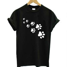 cat paws print Women tshirt Cotton Casual Funny t shirt For Lady Top Tee Hipster gray black white Drop Ship Sweat Shirt, Paws T Shirt, Pull Chat, Collars For Women, T Shirts For Women, Cat Paw Print, Cat Paws, Casual T Shirts, Short Shirts