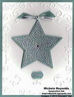 "Handmade Christmas card using Stampin' Up! products - Bright & Beautiful Set, Stars Framelits, Filigree Frame Embossing Folder, 3/8"" Silky Taffeta Ribbon, Silver 1/8"" Ribbon, Stampin' Emboss Powder, Rhinestone Basic Jewels, and Little Labels Punch Pack. By Michele Reynolds, Inspiration Ink, http://inspirationink.typepad.com/inspiration-ink/2014/08/bright-beautiful-framed-star-joy.html."