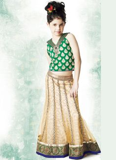 Product ID : Product Description Look like a princess wearing this mustard and green shade net A line lehenga chol. Indian Dresses, Indian Outfits, Indian Clothes, Kids Lehenga, Lehenga Choli, Child Models, Kids Wear, Fashion Boutique, Indian Fashion