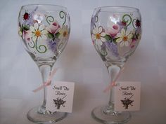 Hand Painted Wine Glass Designs | Hand Painted Ladybug Garden Design Wine by smelltheroseboutique