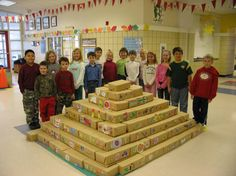 Second Graders Build Mayan Pyramid- Smaller version with cereal boxes?