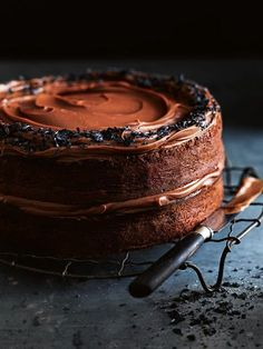 salted dark chocolate layer cake with milk chocolate ganache / donna hay magazine Fast issue Chocolate Ganche, Milk Chocolate Ganache, Dark Chocolate Cakes, Chocolate Desserts, Salted Chocolate, White Chocolate, Baking Recipes, Cake Recipes, Dessert Recipes
