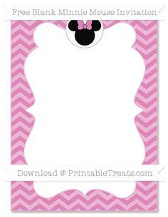 Free Pastel Fuchsia Chevron  Blank Minnie Mouse Invitation