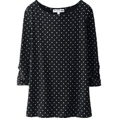 UNIQLO Ines Boat Neck 3/4 Sleeve Printed T-Shirt ($14) ❤ liked on Polyvore featuring tops, t-shirts, black, 3/4 sleeve tee, boatneck top, boat neck tee, uniqlo t shirts and drapey tee