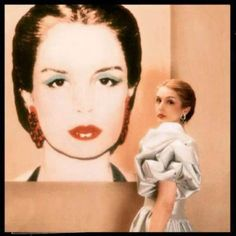 Carolina Herrera with her Andy Warhol portrait