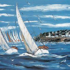 La Régate Lake Decor, Seascape Art, Boat Art, Boat Painting, Rowing, Sailing Ships, Find Art, Amazing Art, Landscape Paintings