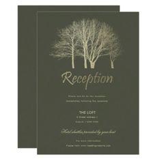 #invitations #wedding #bridalshower - #ELEGANT GREY SILVER FALL AUTUMN TREES RECEPTION CARD