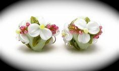 Cherry Blossom and White Floral Crystal Pair- Brilynn Beads Handmade  Lampwork Beads SRA