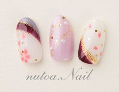 ネイルデザイン・和柄♪〜ネイルサロン・町田〜|町田 ネイルサロン ... New Year's Nails, Gel Nails, Acrylic Nails, Pretty Nail Designs, Nail Art Designs, Korea Nail Art, Kawaii Nail Art, Japan Nail, Nail Salon Design