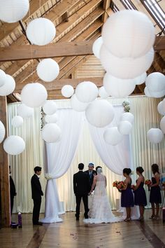 White Chuppah & Lanterns, Jewish Wedding Ceremony by Michael Novo Photography - mazelmoments.com