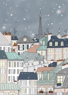 Paris Poster for Kids, Paris Art Print, Eiffel Tower by Amélie Biggs