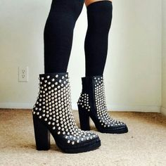 NWT Jeffrey Campbell studded platform boots New with tags. Retail for $310**  Super rad Jeffrey Campbell studded boots size 7 us.  Statement piece for any wardrobe. As seen on tons of fashion blogs.   I only have two pairs, one 7us, one 8 us. One they sold out, they are gone forever.  I cannot give a cheaper price here for 25% chop fee... sorry <\3  It can be cheaper or merc or P***   #freepeople #jeffreycampbell #yru #unif #carmar #LF #Lfstores Jeffrey Campbell Shoes Ankle Boots & Booties