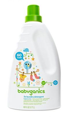 Babyganics Baby Laundry Detergent, Fragrance Free, 60 Fluid Ounce sulfate free free fragrance free triple concentrated, plant-based cleaning power, stain fighting non-allergenic Best Baby Detergent, Baby Laundry Detergent, Natural Laundry Detergent, Detergent Bottles, Giorgio Armani, Hygiene, At Least, Shopping, Packaging