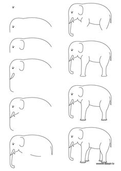 How to draw an elephant, step-by-step. Click on picture, then shrink-to-fit 85% to fit on one page.) (art, kids, drawing lessons)