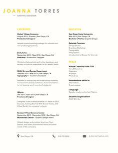 Super clean, simple look! Creative Resume Design, Resume Style, CV, Curriculum Vitae RESUME by JOANNA TORRES, via Behance