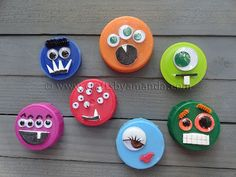 plastic bottle cap crafts | Plastic Lid Monsters - Crafts by Amanda