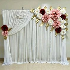 A beautiful BACKDROP 87 ft made for a special baby shower. Wedding Hall Decorations, Quinceanera Decorations, Diy Wedding Backdrop, Backdrop Decorations, Birthday Decorations, Flower Decorations, Paper Flower Backdrop, Paper Flowers, Ramadan Decoration
