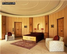 Mrs Coutauld's oval bedroom at Eltham Palace, designed by the Mayfair decorator the Marchese Malacrida