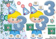 Boys 3rd Birthday Card Front and Decoupage on Craftsuprint designed by Sue Way - A cute design for a A5 over the edge card. A little boy, wearing a party hat holding a big number 3