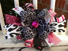 Super Cute Hot Pink and Animal print Bow!