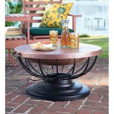 Hammered Copper Fire Pit With Lid Converts To Table | Outdoor Fire Pit | Plow & Hearth