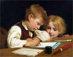 """""""Schreibender Knabe mit Schwesterchen"""" ... By Albert Anker    (trans: Writing Boy With Sister)"""